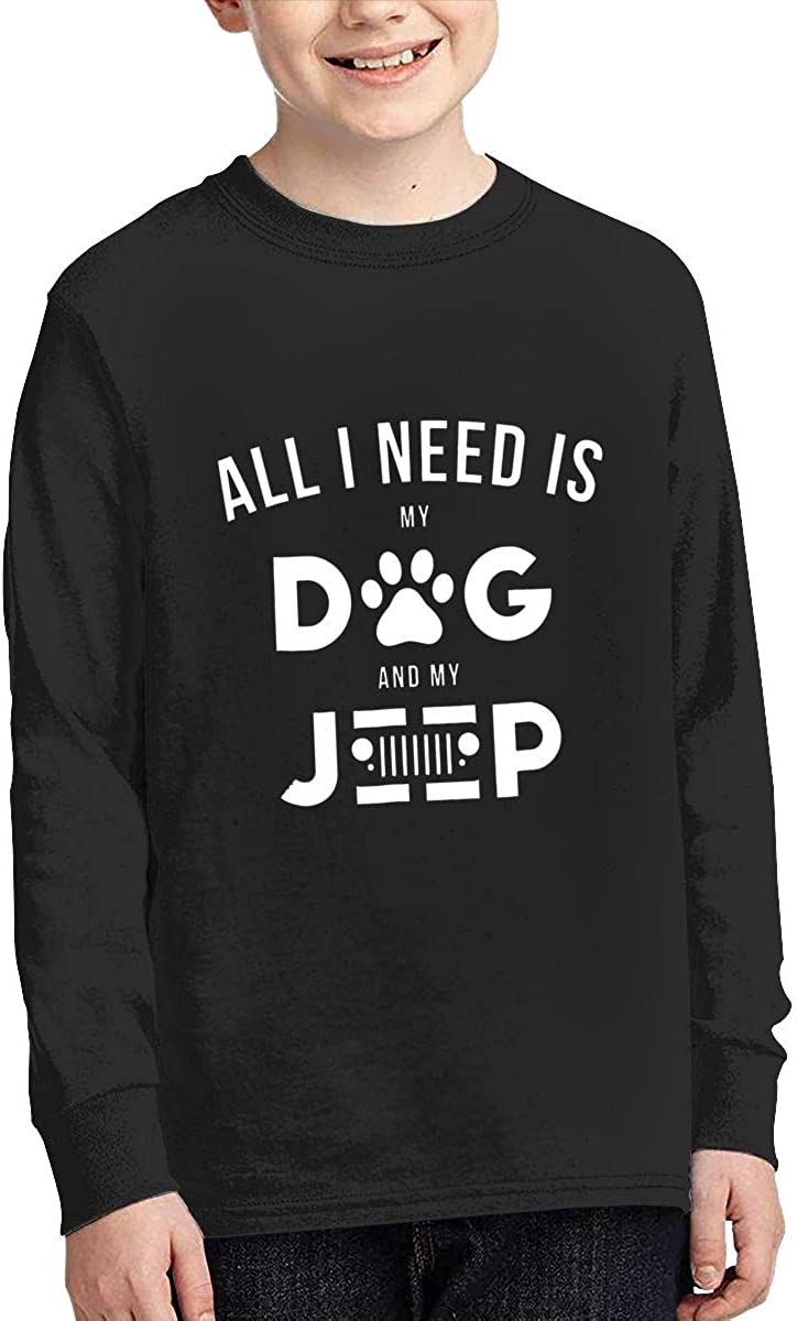 ZHAN-pcc All I Need is My Dog and My Jeep Boys Long Sleeve Round Neck T Shirts
