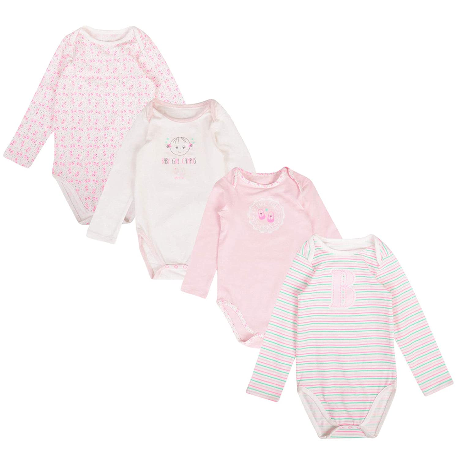 Paradise Baby Girls 3 Pack Bodysuits Long Sleeve EX Store Cotton Vests 0-36M