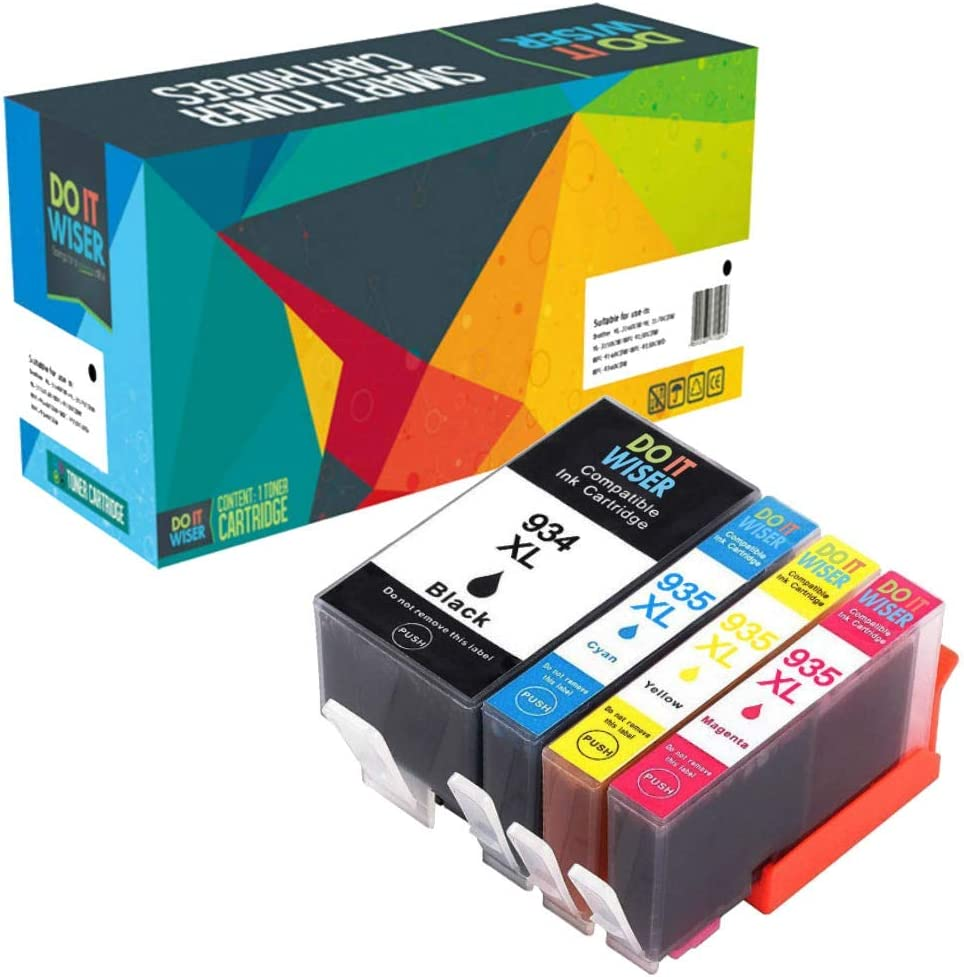 Do it Wiser Compatible Ink Cartridge Replacement for HP 934XL 935XL 934 XL 935 HP OfficeJet Pro 6830 6835 6230 HP OfficeJet 6220 6812 6815 6820 Printers (Black Cyan Magenta Yellow, 4-Pack)