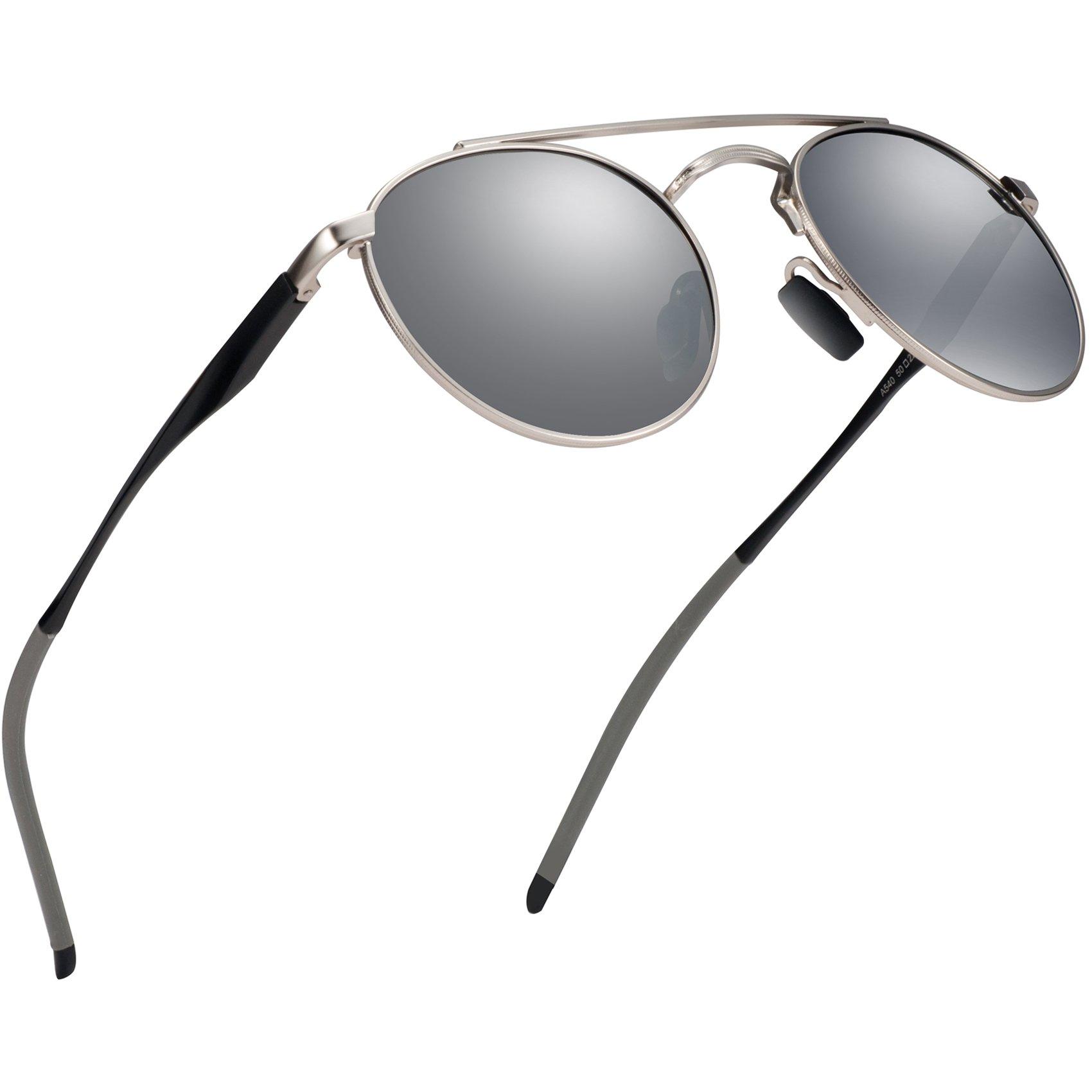 Polarized Sunglasses Aviator Sunglasses for Men - FEIDU Polarized Aviator Sunglasses for Men Sunglasses Man FD3014 (silver) by FEIDU