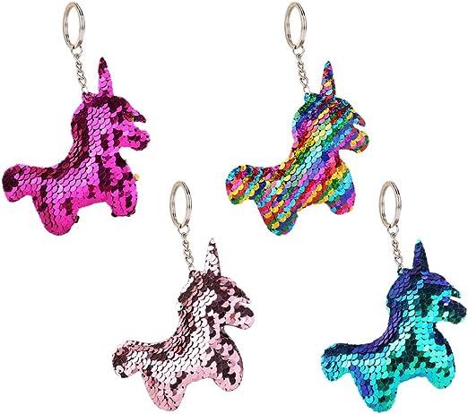 Comprar Toyvian 4pcs Unicornio Llavero Lentejuelas Unicornio Llavero Bolso Decoraciones para Mujeres niñas Regalo