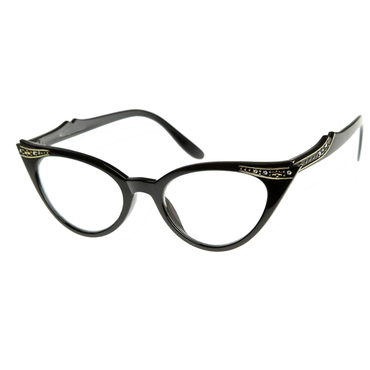 5dc8fa9de859 Amazon.com  Vintage Cateyes Fashion Clear Lens Cat Eye Glasses with  Rhinestones (Black Clear Lens)  Clothing
