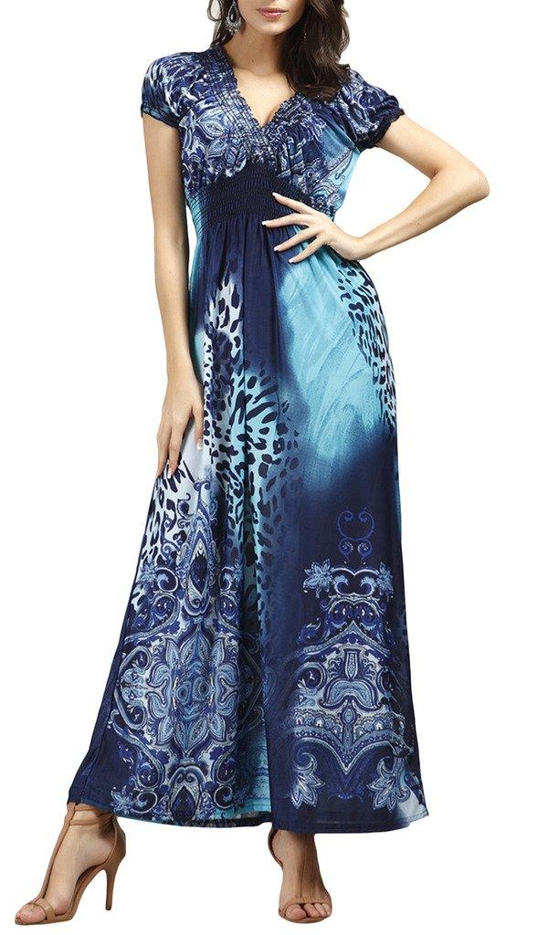 Xiang Ru Women V Neck Short Sleeve Bohemia Maxi Dress Deep Blue XL by Xiang Ru