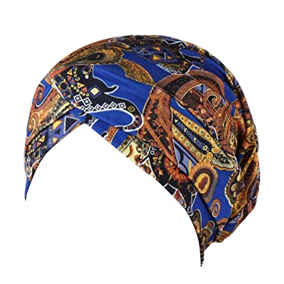 Women Ladies Casual Holiday Soft Beanie,Indian Muslim Wrap Head Turban Cap Cancer Chemo Hat (Blue): Clothing