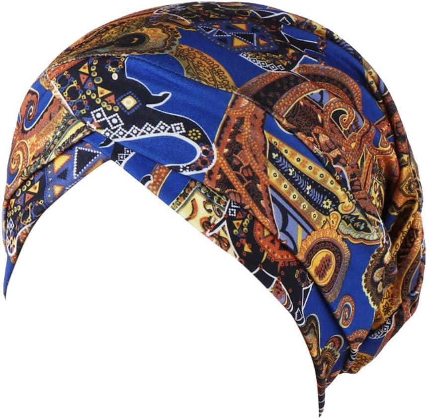 Blue Barhalk Fashion Women Print India Hat Floral Headwear Muslim Ruffle Cancer Chemo Beanie Turban Wrap Cap Headwrap or Cancer Patients Hair Loss Adult