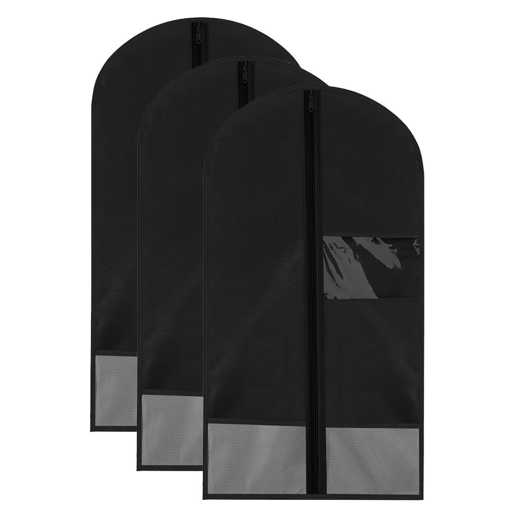 Garment Bags Storage Hanging Breathable Garment Covers Bag Travel Large Collapsible Long Washable For Coat Suits Wedding Dress Gown Shirts With Pocket and Viewing Window (Black, Set of 3)