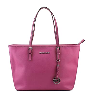 2196a03e989 Michael Kors Jet Set Travel Top Zip Saffiano Leather Tote Deep Pink