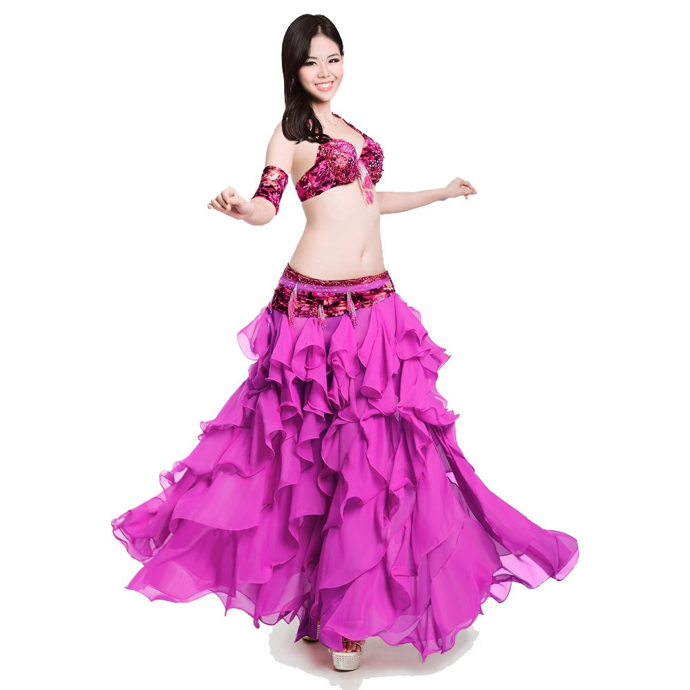 Royal Smeela Women's Belly Dance Clothing Rhinestone Bra Embroidery Skirt Arms Bands Costume Set Professional by Royal Smeela
