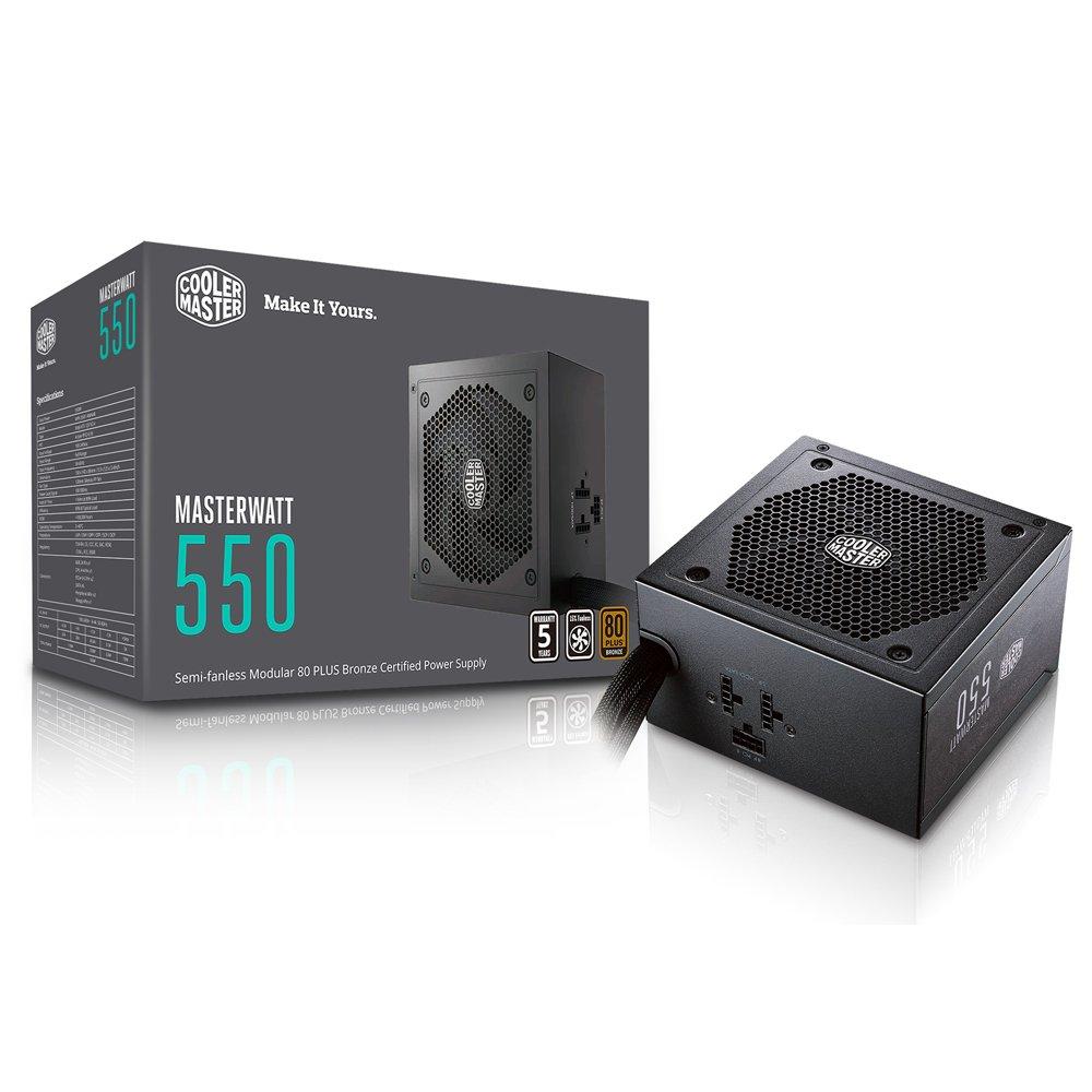 MasterWatt 550 Watt Semifanless Modular Power Supply, 80 PLUS Bronze Certified Power Supply for Computers