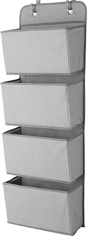 ManGotree Organizador de almacenamiento para colgar sobre la puerta, organizador de almacenamiento de armario, 4 bolsillos para colgar en la puerta con 2 ganchos, plegable (gris punto)