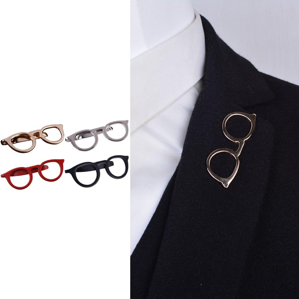 LANDUM 1 Piece Tie Clip for Mens, Men Glasses Tie Bars Pin Clasp for Wedding Business Suit Tie Gift Accessories - Gold by LANDUM (Image #2)