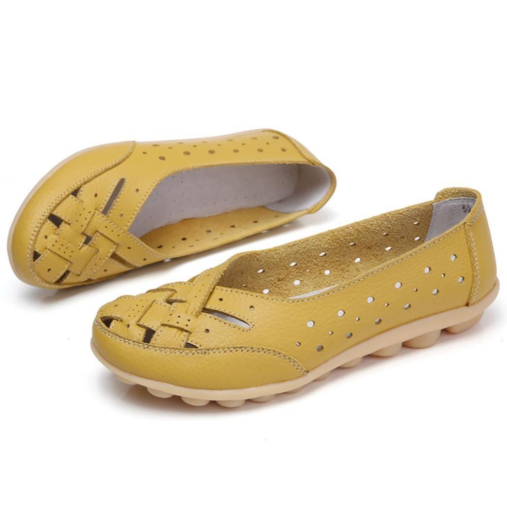 Igemy Frauen Runde Toe Schuhe, Dame Einfarbig Flache Sandalen Leder Knouml;chel Lauml;ssige Slipper Soft Schuhe  35 EU|Gelb