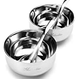 Stainless Steel Soup Bowl Double-deck Insulated Prep Salad Serving Bowls with Spoon by Meluoher,2 Pieces