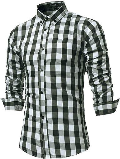YEBIRAL Camisetas Hombre Manga Larga Impresión de Celosía Slim Fit Solapa con Botones Estilo Diario Slim Fit Polos Camisas Blusa Tops