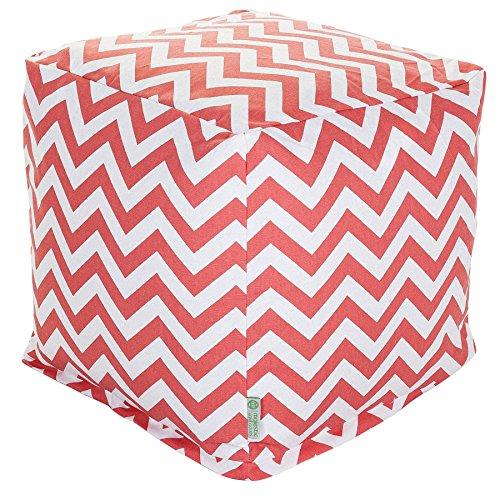 Majestic Home Goods Coral Chevron Indoor Bean Bag Ottoman Pouf Cube 17