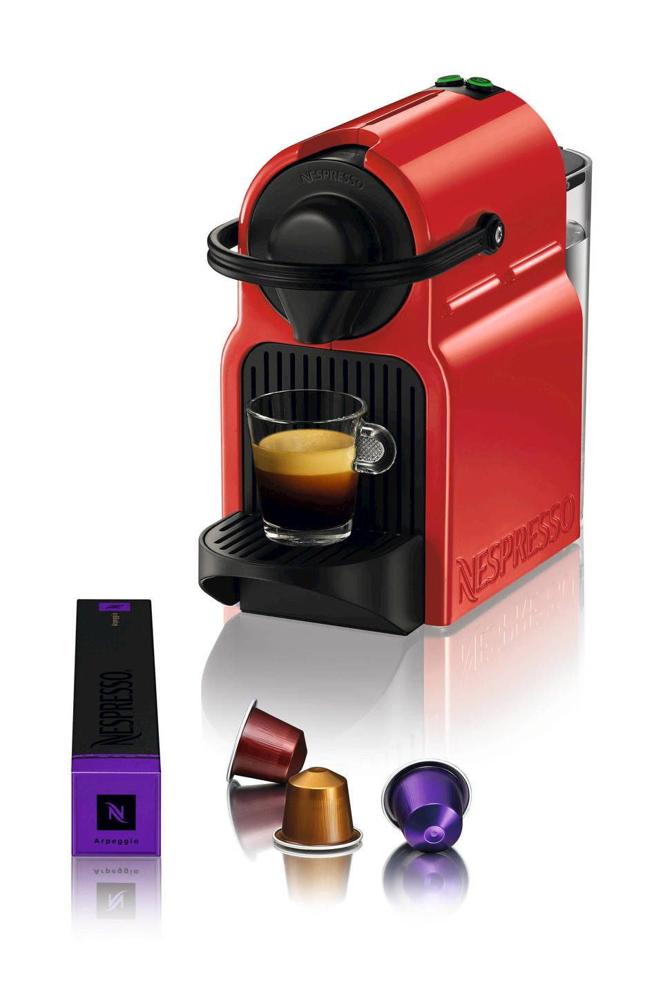nespresso inissia espresso maker with aeroccino plus milk frother red ebay. Black Bedroom Furniture Sets. Home Design Ideas
