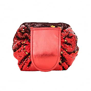 Amazon.com   Fashion Bling Mermaid Sequin Drawstring Lazy Travel Makeup Bag  Large Cosmetic Bags Fast Quick Pack Waterproof Magic Toiletry Bags Storage  ... 53d157a38cfb9