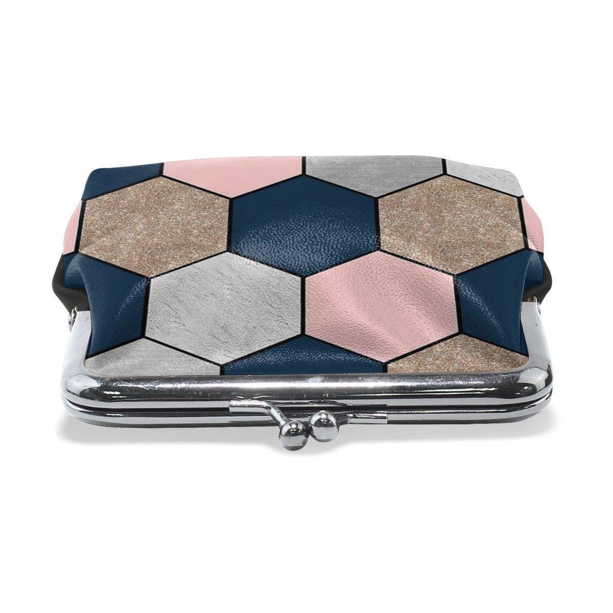 Poream Navy And Peach Geometric Hexagons Customized Retro Leather Cute Classic Floral Coin Purse Clutch Pouch Wallet For Girls And Womens