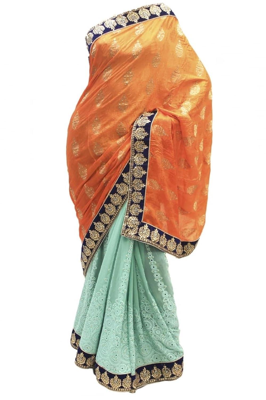RUBS2506 Elegant Dark Cyan & Orange Party Saree Bollywood Indian Designer Party Sari Saree