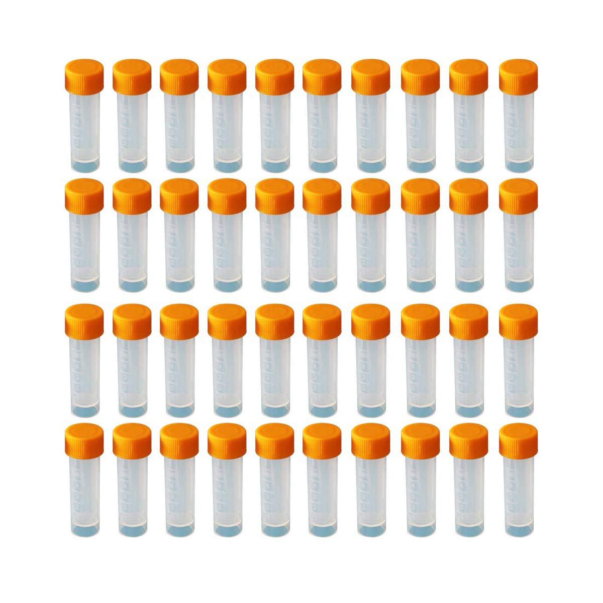 Marcas Graduadas HUAYAO 40PCS Tubo de Laboratorio de 5 ML de Pl/ástico Tubos de Ensayo de Pl/ástico con Tapa Tubos de Ensayo Congelados de Pl/ástico