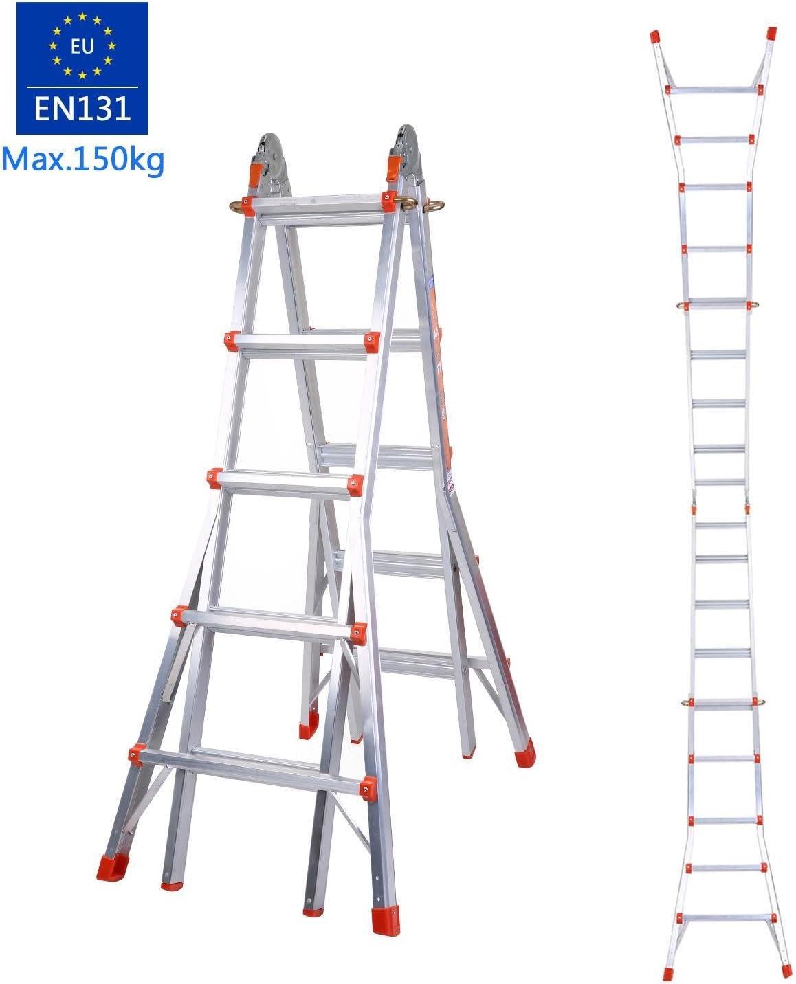 COOCHEER telescópica escalera telescópica escalera Multiposition peldaños escalera articulada carga max. 150 kg: Amazon.es: Bricolaje y herramientas