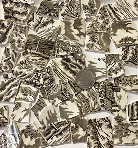 Mosaic Art & Crafts Supply ~ Brown & White Classic Transferware Tiles (B814)