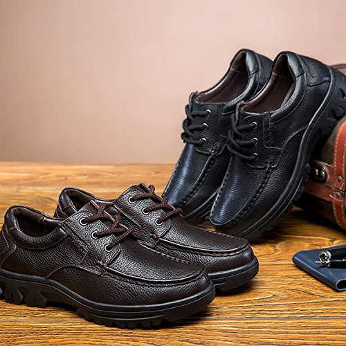 Leather Classic Lace Modern Dress Formal Genuine Wide up Shoes Oxford Brown2 Men's Cow Business PHILDA Width qYwg6f