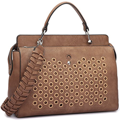 Double Zip Top Handle Satchel Handbag Designer Perforated Purse w/ Weave Shoulder Strap Brown