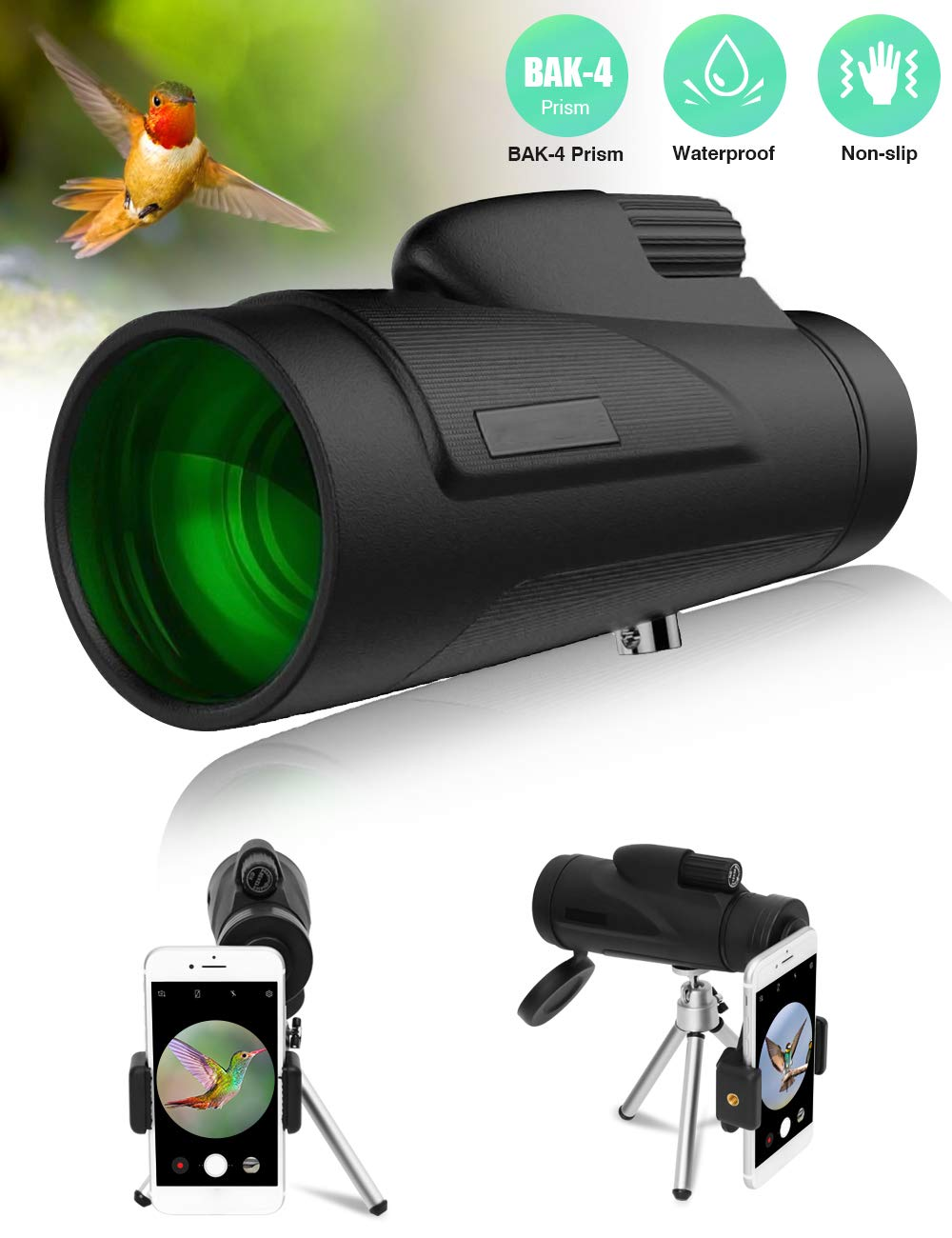 AIRSOFTPEAK Monocular Telescope 12x50 Low Night Vision BAK-4 Prism Monocular Scope HD for Smartphone Compact Monocular for Adults Bird Watching Hunting by AIRSOFTPEAK