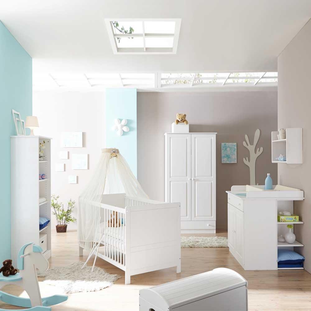 Pharao24 Babyzimmermöbel Set in Weiß schlicht