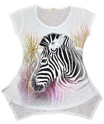 6da53e8e6 Amazon.com: Sweet Gisele Zebra Animal Print Tunic T-Shirt | Colorful V Neck  Tee for Women (XL): Clothing