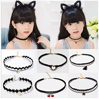 MGQFY 6 PCS Choker Necklace for Little Girls Lace Choker Gothic Little Kids Fashion Jewelry Necklace Set Best Gift for Little Girls Birthday Present: Toys & Games