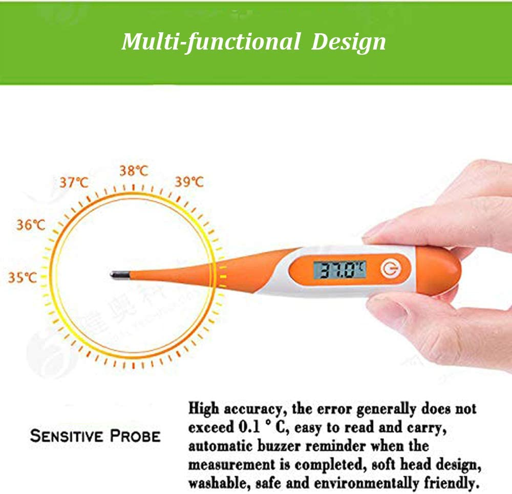 1X, Orange Natsuki Universal Electronic thermometers Fast Temperature Measurement Display Fahrenheit and Celsius for People and Pets