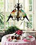 Makernier Vintage Tiffany Style Stained Glass 3 Arms Parrots Chandelier For Sale