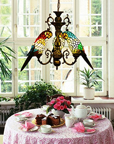 Makernier Vintage Tiffany Style Stained Glass 3 Arms Parrots Chandelier ()