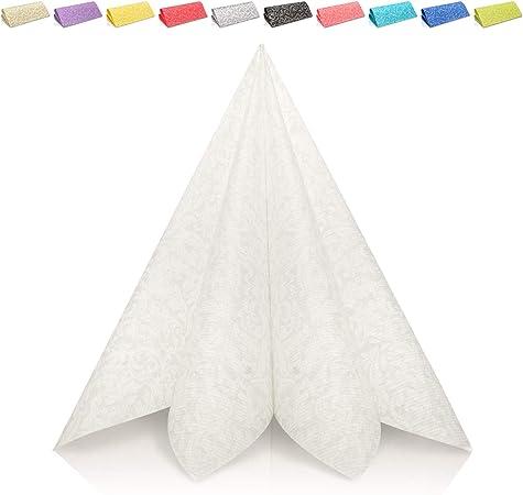 Grubly Serviettes En Papier Motifs Blanc Blanches Identique Au