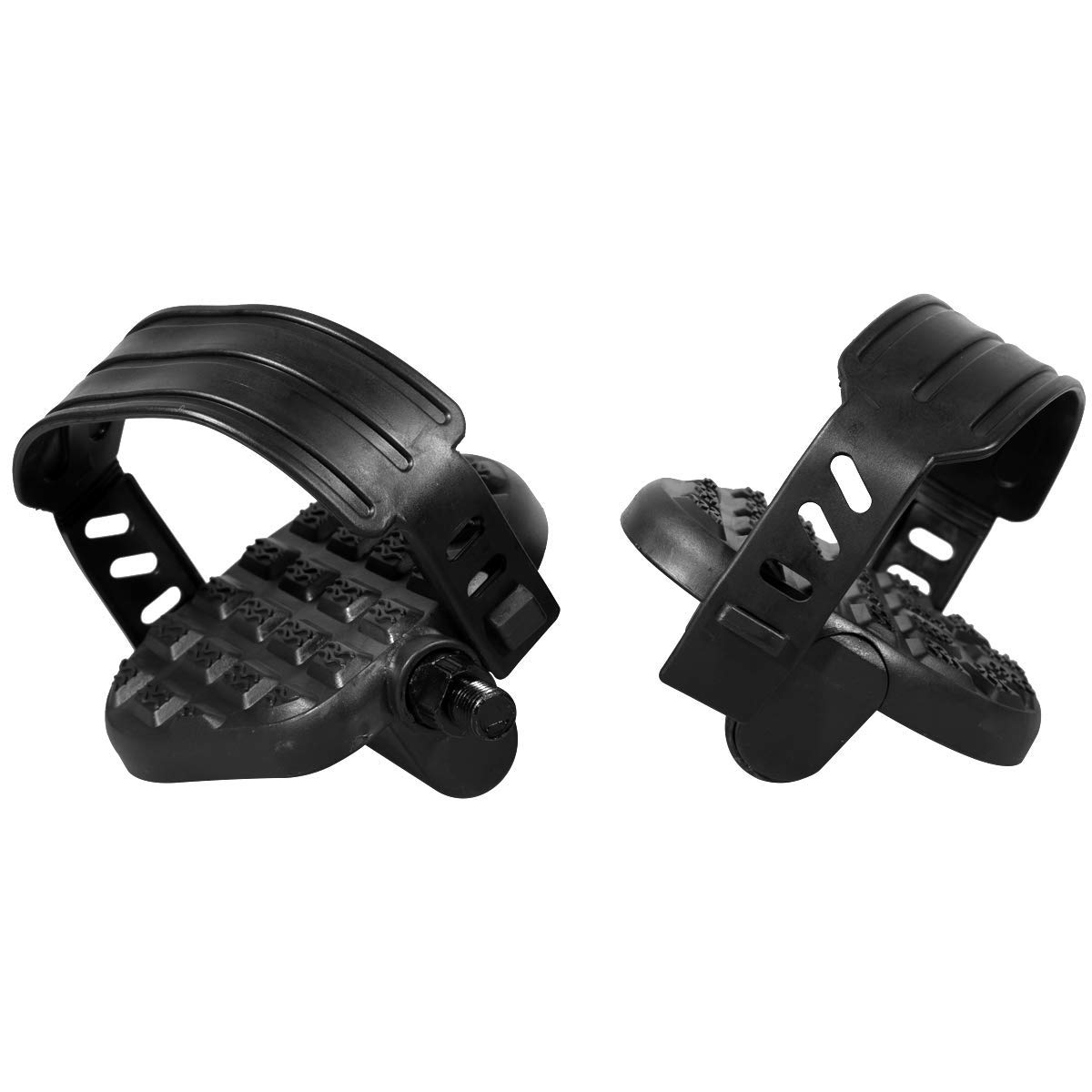 Spin Bike HILAND Replacement Bike Pedals with Strap for Stationary Bike Recumbent Exerciser Bicycle Black