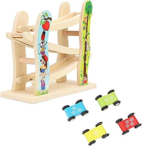 Kids Car Racer Pista Juguete Deslizándose Coches Juegos de carreras Juego de madera Mega Ramp Escalera deslizante con 4 Mini Racers Carrera Juguetes Regalos para niños pequeños: Amazon.es: Bebé