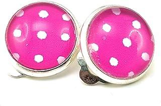 Stechschmuck Ohrstecker Handmade Punkte Polka Dots Blau Wei/ß Rockabilly Vintage Oldschool 50er Jahre Damen Kinder 1 Paar 10mm Nickelfrei
