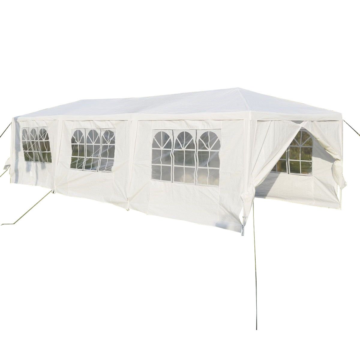 Patiojoy 10'x30' Outdoor Canopy Tent Heavy Duty Steel Frame with 6  Removable Sidewalls Waterproof Sun Snow Rain Shelter Canopy BBQ Party  Wedding Event