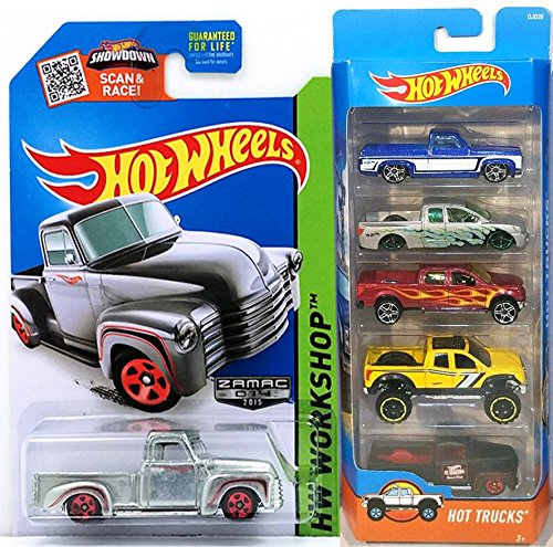 Hot Wheels Hot Trucks & 4 x 4 5-Pack Set & Zamac '52 Chevy Exclusive pickup - '83 Silverado / Nissan Titan / 2009 Ford F-150 / '10 Toyota Tundra / '49 Ford F1