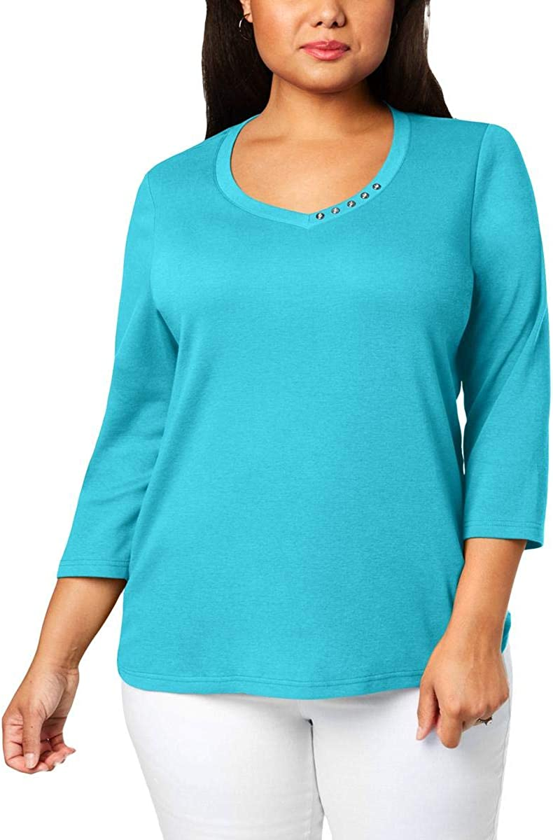 Karen Scott Womens Plus Button Trim V-Neck Pullover Top