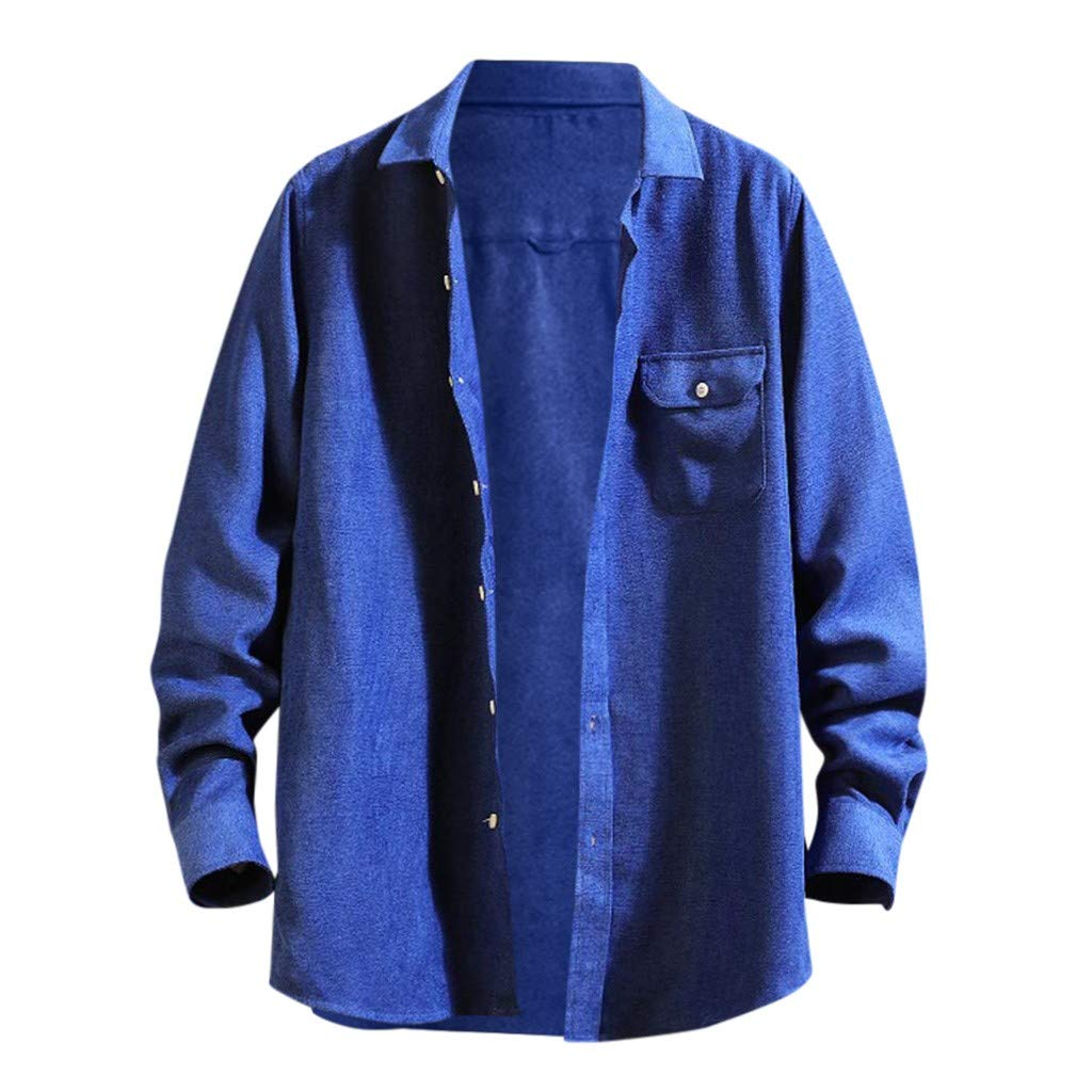 WINJUD Mens Shirt Solid Pocket Regular-fit Tops Long-Sleeve Turn-Down Collar Casual Top Blue by WINJUD