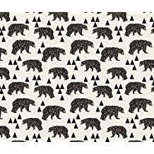 Camping Fabric - Geo Bear / Cream Geometric Trendy Camping Boys Nursery Bear by andrea_lauren - Camping Fabric with Spoonflower - Printed on Minky Fabric by the Yard