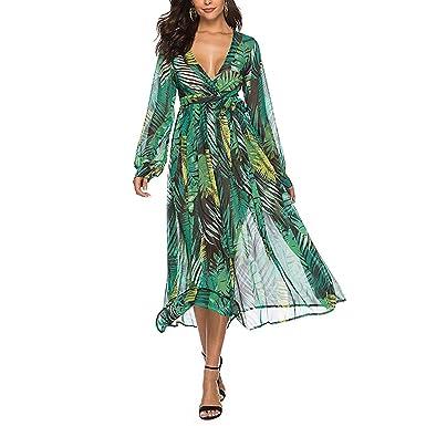 692653ed7e337 GemCave Summer Deep V Neck Women Dress Chiffon Sexy Boho Maxi Floral Long  Sleeve High Waist Green Travel Beach