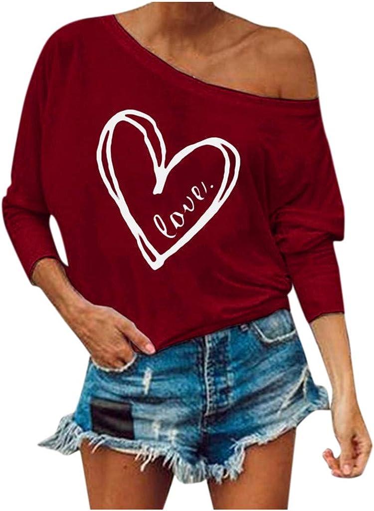 Alangbudu Women Long Sleeve Graffiti Love Heart Print Pullover Casual Sweatshirt Loose Tops Solid Blouse Soft Tunic