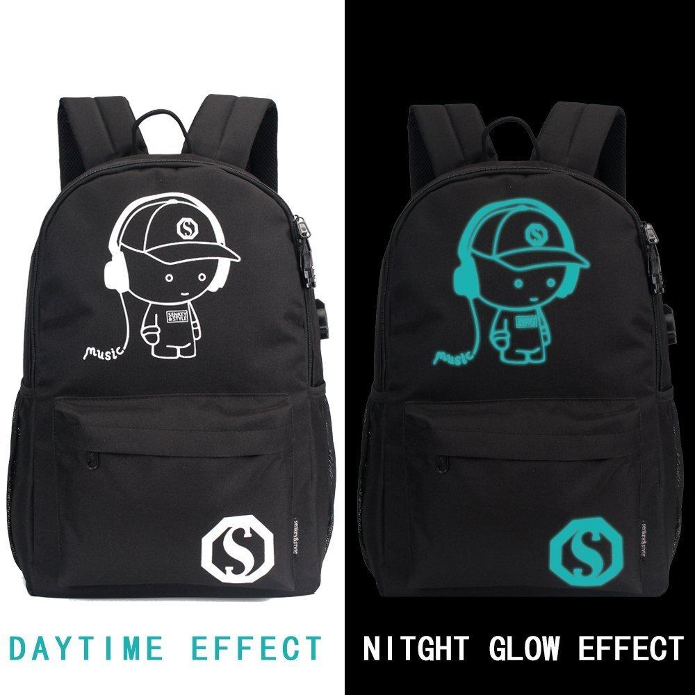 YYCB Anime Luminous Black Backpack Noctilucent School Bags Daypack USB chargeing port Laptop Bag Handbag For Girls Boys Men Women by YYCB (Image #1)