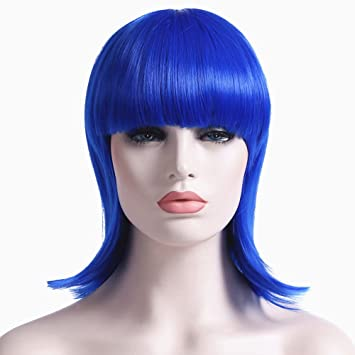 Amazon.com  Short Bob Wigs for Women Blue Wig with Bangs Synthetic Hair Wig  with Wig Cap  Beauty a78a71ace