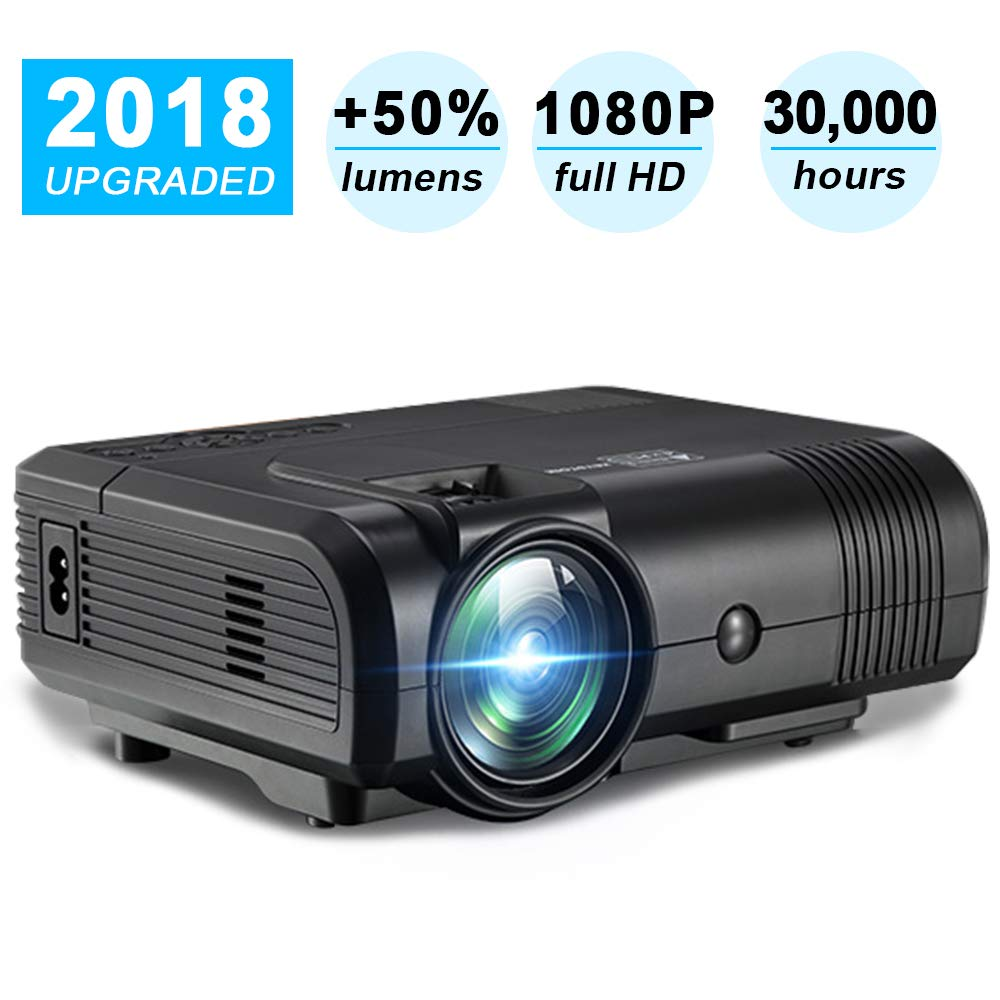 Video Projector, Weton Mini Movie Projector 1080P FHD Portable LED Projector Multimedia Home Theater Cinema Projector for iOS Android Smartphones with Fire TV Stick/Laptop/ SD/Xbox/ iPad/Game