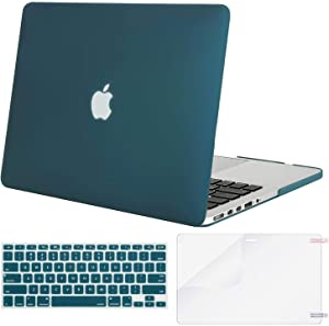 MOSISO Case Only Compatible with Older Version MacBook Pro Retina 13 inch (Models: A1502 & A1425) (Release 2015 - end 2012), Plastic Hard Shell Case & Keyboard Cover & Screen Protector, Deep Teal
